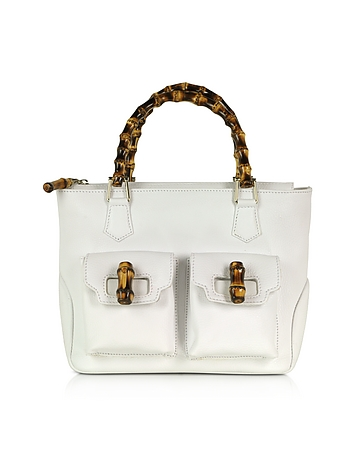 Buti - Front Pockets White Leather Satchel Bag w/ Bamboo Handles
