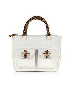 Front Pockets White Leather Satchel Bag w/ Bamboo Handles - Buti