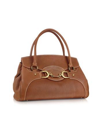 Biscuit Italian Leather Satchel Flap Handbag