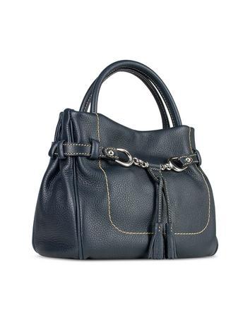 Buti Blue Italian Pebble Calf Leather Satchel Bag