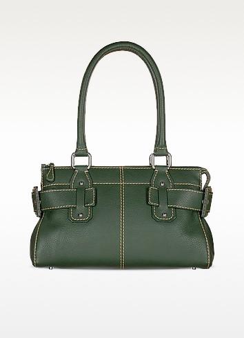 Green Italian Pebble Calf Leather Tote Bag - Buti