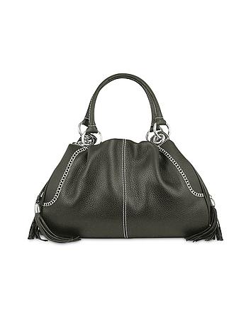 Buti - Black Pebble Italian Leather Satchel Bag