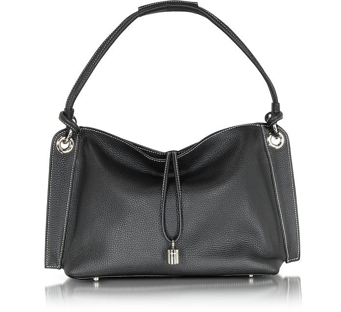 Charm Drop Black Pebble Italian Leather Hobo Bag - Buti