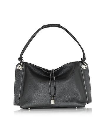 Charm Drop Black Pebble Italian Leather Hobo Bag