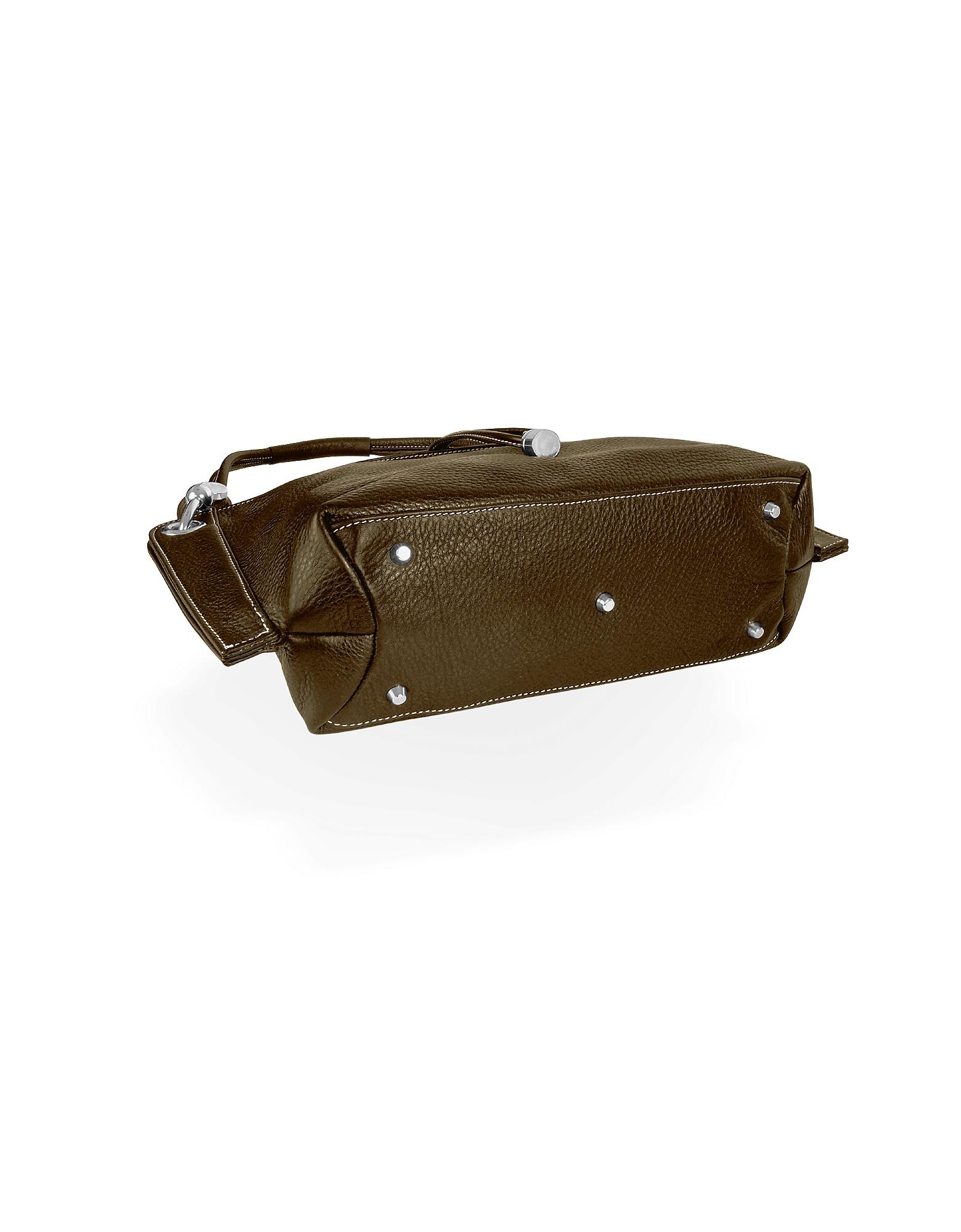 Charm Drop Dark Brown Pebble Italian Leather Hobo Bag от Forzieri INT