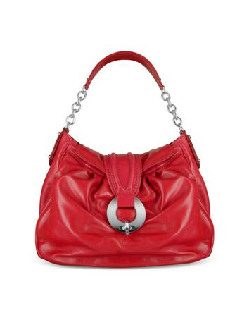 Buti Front Ring Red Italian Calf Leather Shoulder Bag