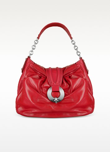 Front Ring Red Italian Calf Leather Shoulder Bag - Buti