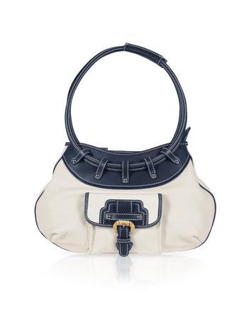 Buti White and Blue Leather Front Pocket Shoulder Bag