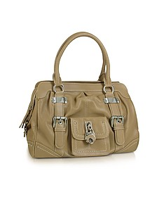 Grained Leather Zippered Satchel Bag - Buti