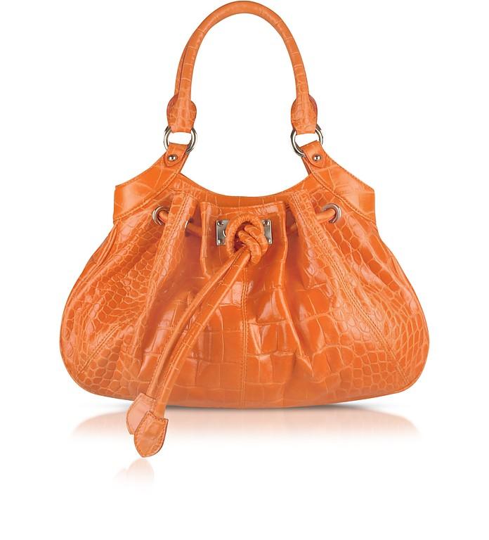 Orange Croco Stamped Leather Drawstring Satchel Bag - Buti