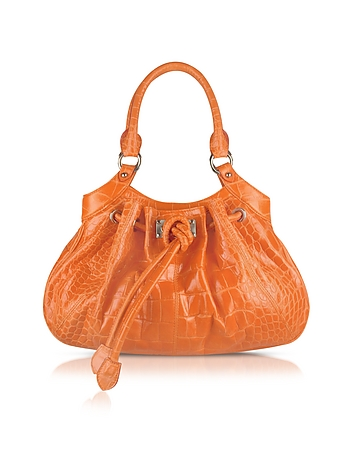 Orange Croco Stamped Leather Drawstring Satchel Bag