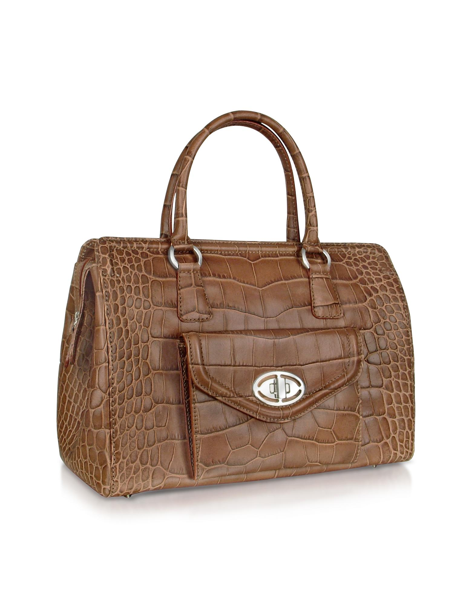 Buti  Front Pocket Brown Croco Stamped Leather Satchel Bag