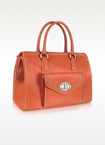 Front Pocket Orange Grained Leather Satchel Bag - Buti