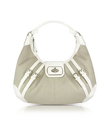 White Patent Leather and Canvas Hobo Bag - Buti