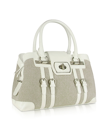 White Patent Leather and Canvas Satchel Bag