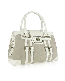 White Patent Leather and Canvas Satchel Bag - Buti