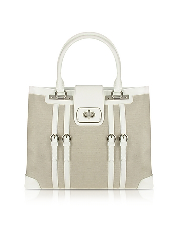 White Patent Leather and Canvas Tote Bag