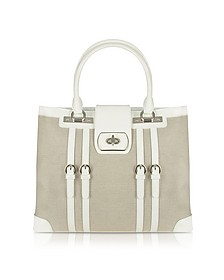 White Patent Leather and Canvas Tote Bag - Buti