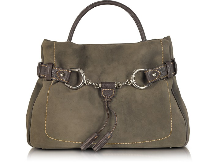 Brown Taupe Suede and Leather Satchel Bag - Buti
