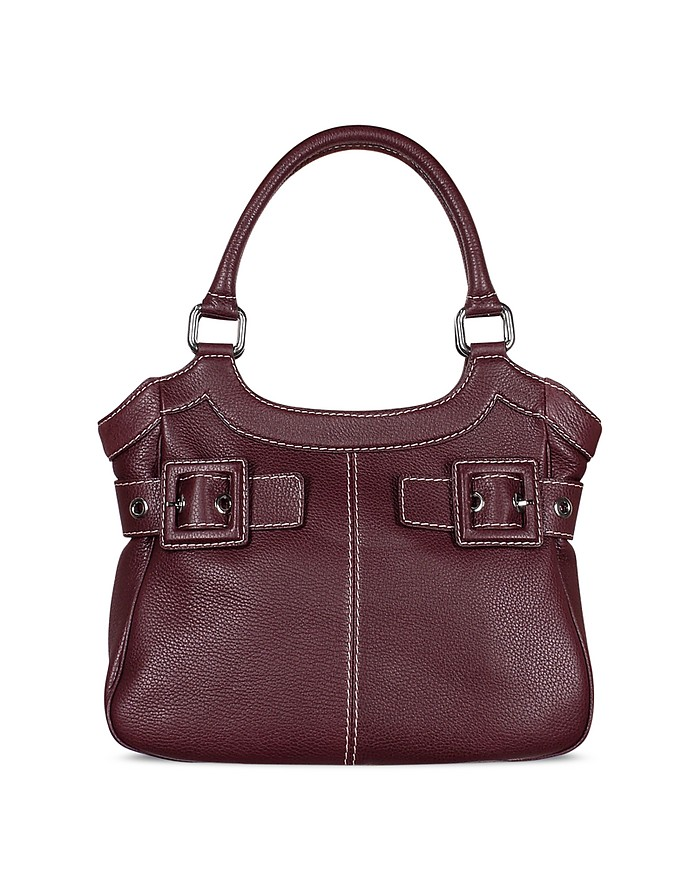 Burgundy Pebble Leather Large Tote Bag - Buti