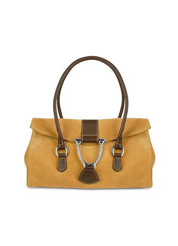 Buti Camel Suede and Leather Satchel Bag :  handbag suede purse gift
