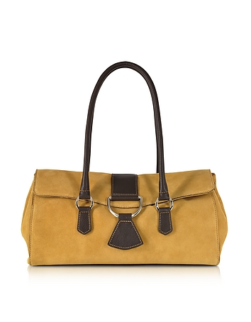 Camel Suede and Leather Satchel Bag
