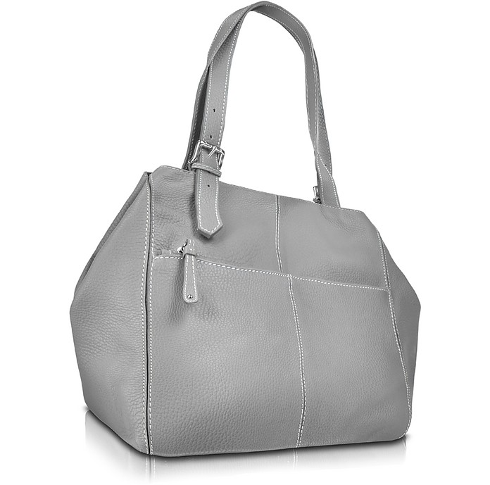 Pebbled Calf Leather Tote Handbag - Buti