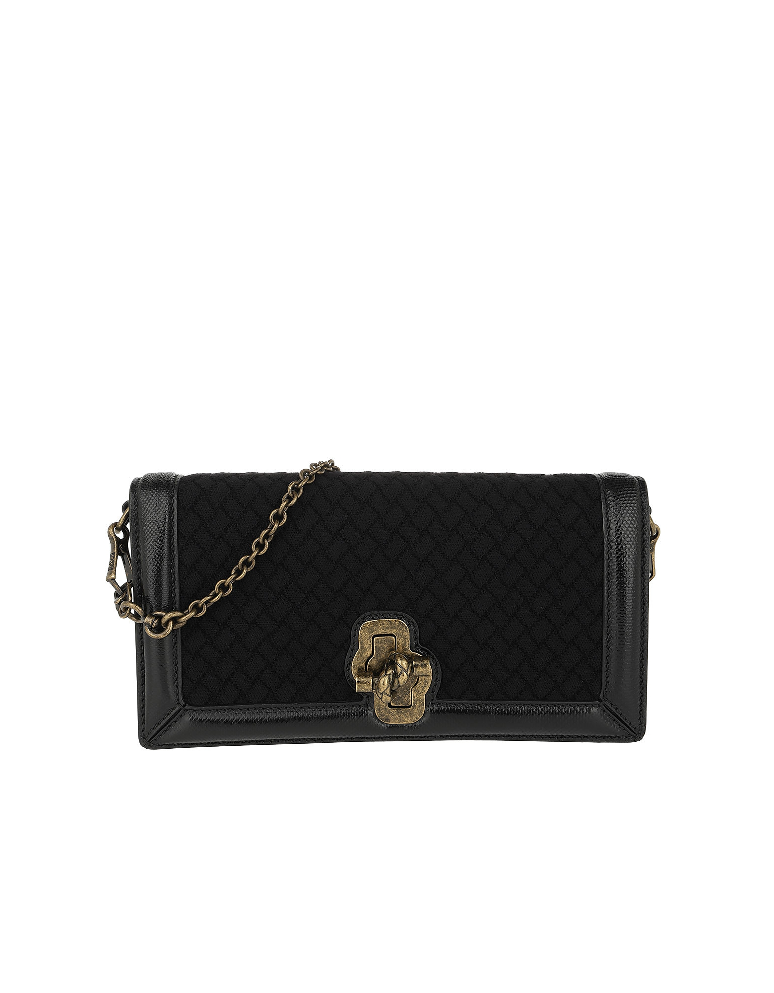 Bottega Veneta Handbags, Intrecciato Knot Clutch Leather Black