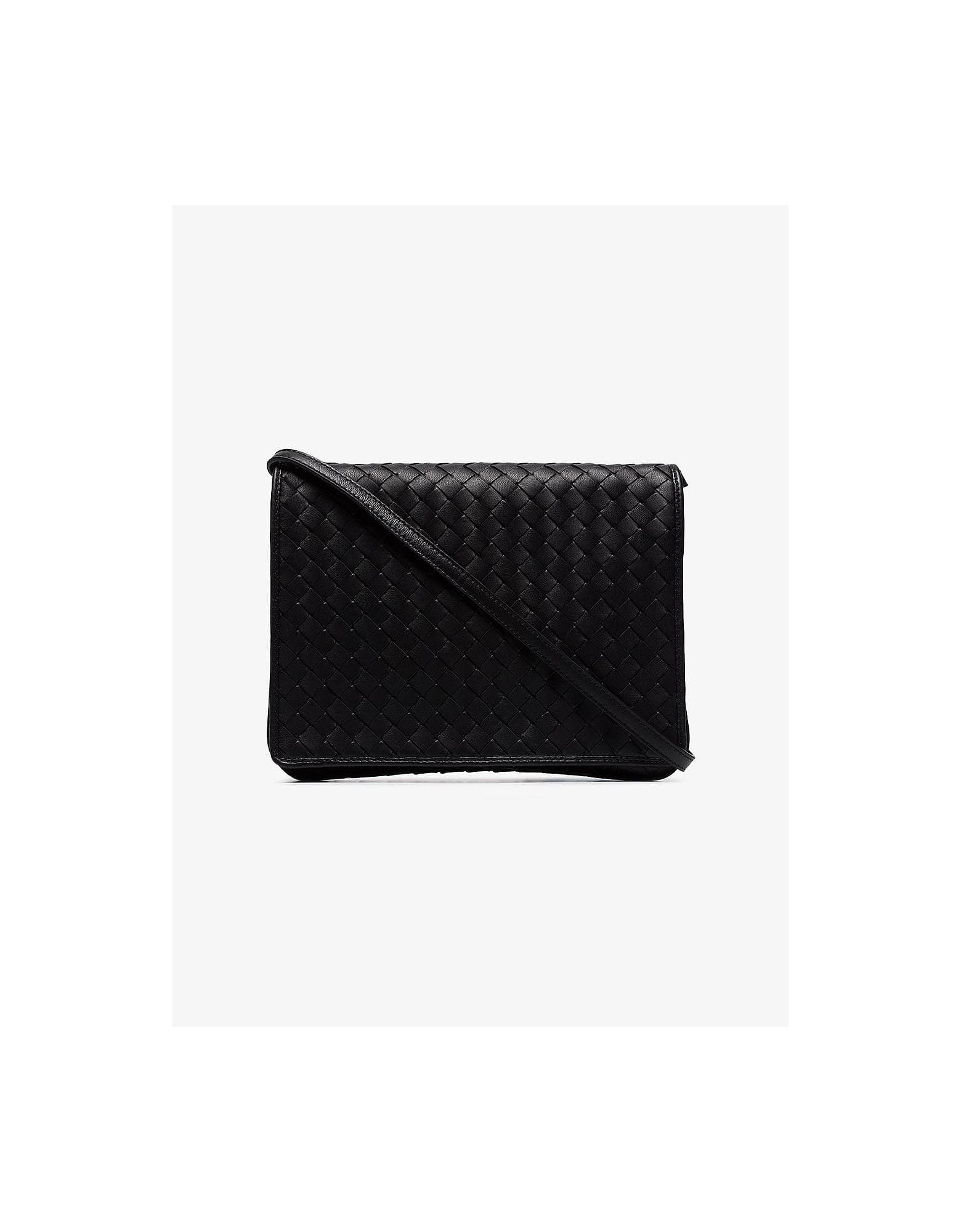 Bottega Veneta Designer Handbags, Black Intrecciato Leather Cross Body Bag