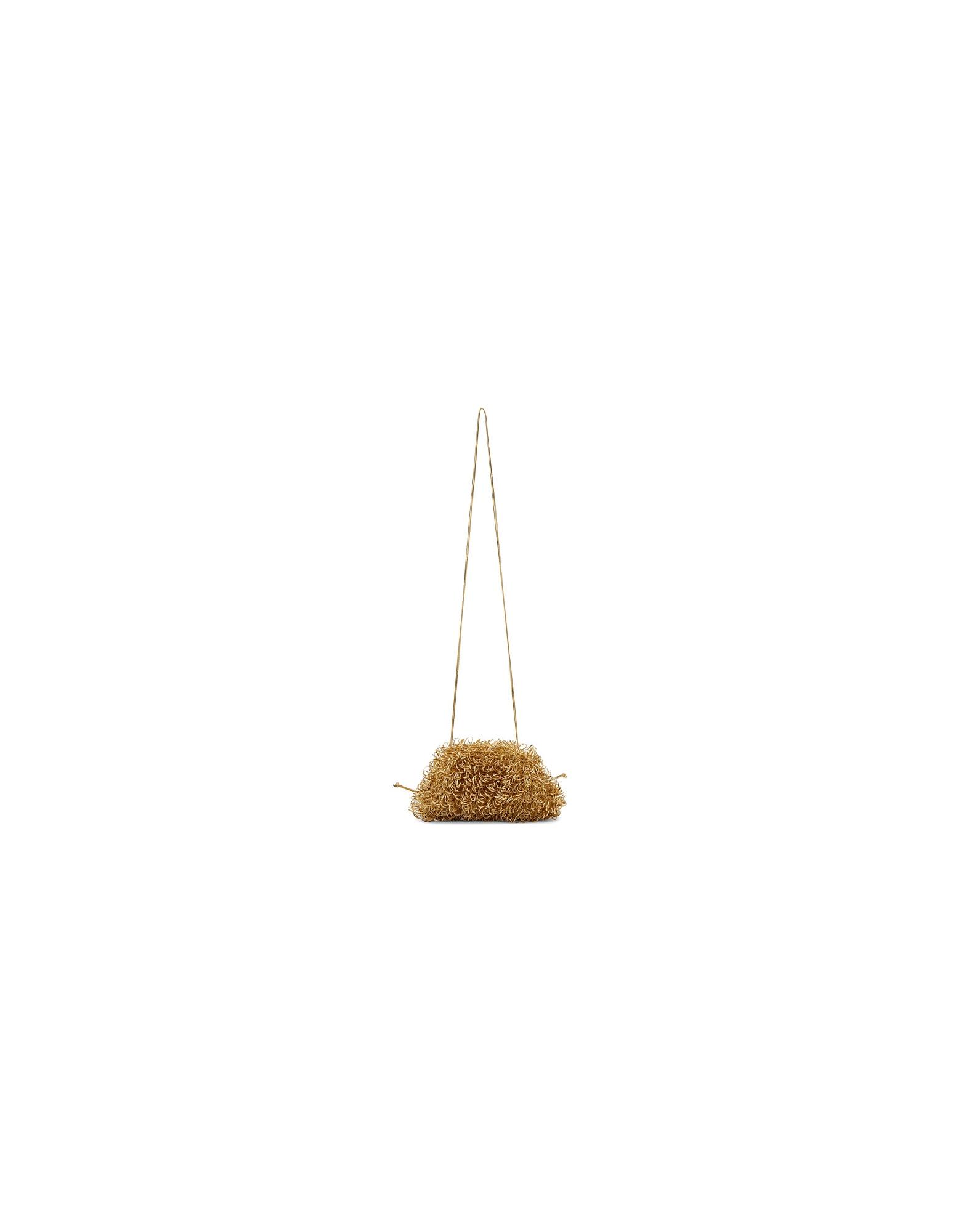 Bottega Veneta Designer Handbags, Gold Mini Curly Pouch