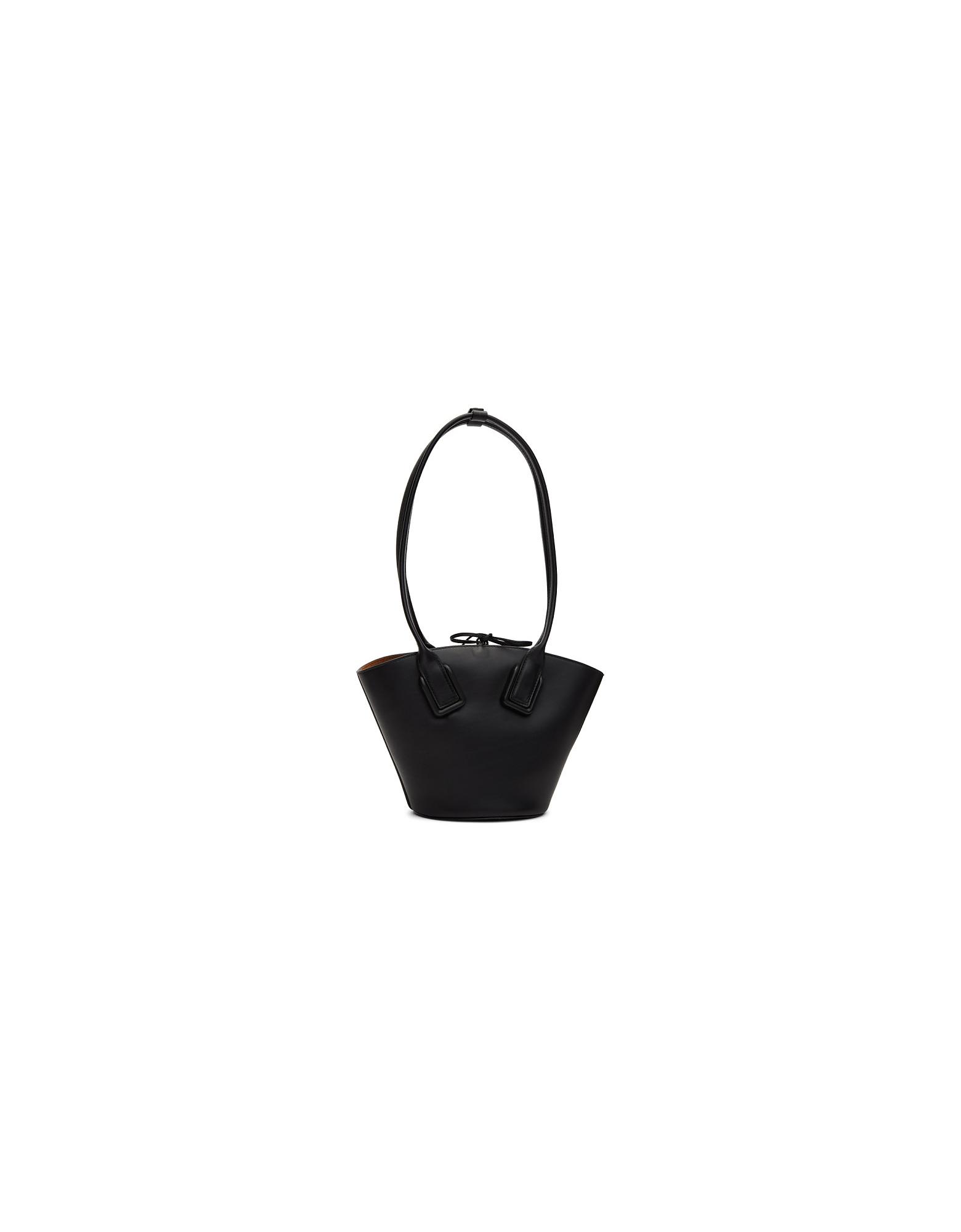 Bottega Veneta Designer Handbags, Black Mini Basket Tote