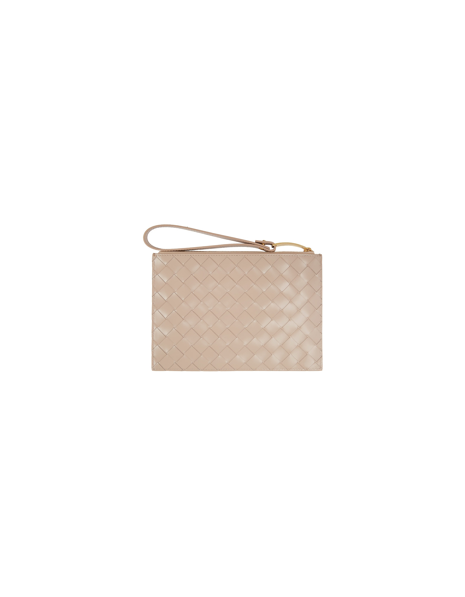 Bottega Veneta Designer Handbags, Beige Medium Maxi Intrecciato Pouch