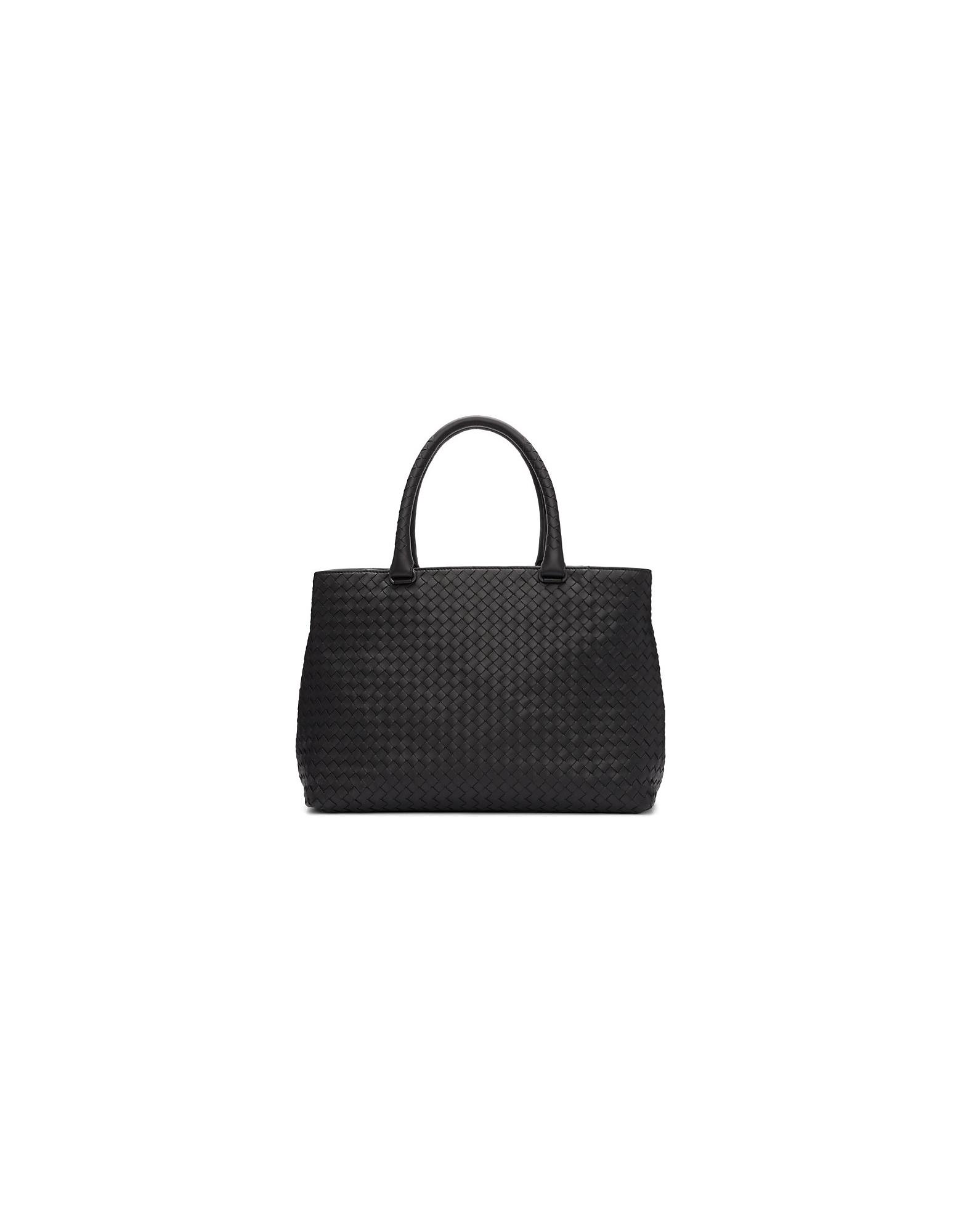 Bottega Veneta Designer Handbags, Black Intrecciato Leather Tote