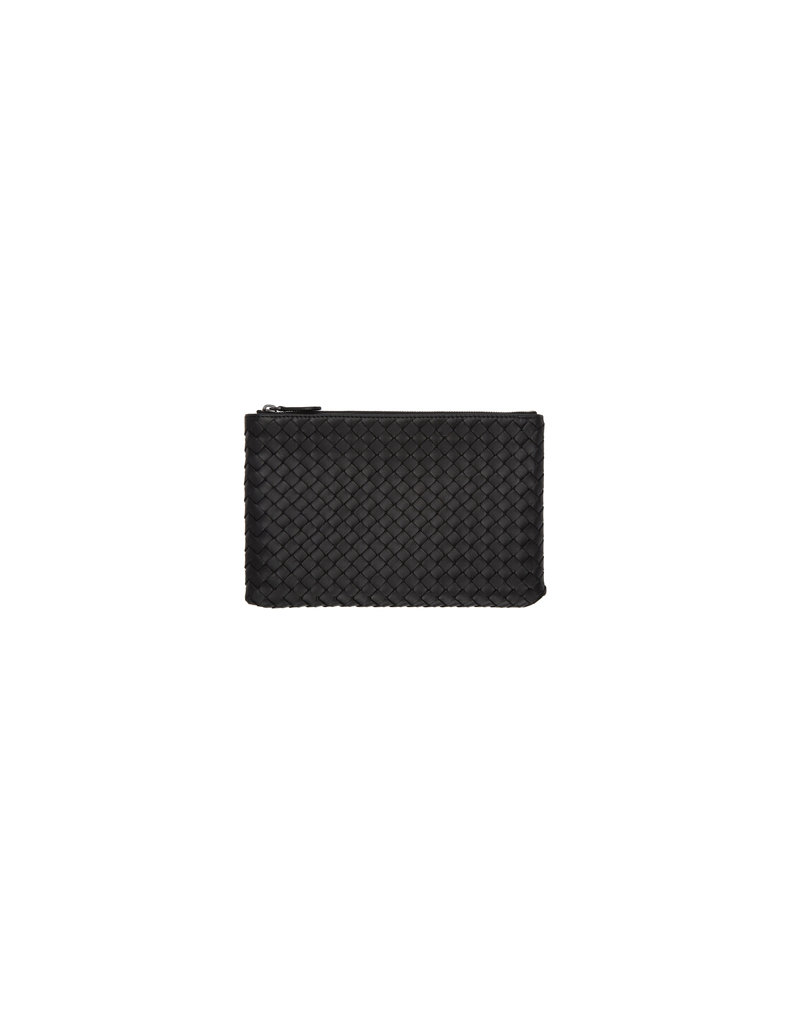 Bottega Veneta Designer Handbags, Black Intrecciato Biletto Pouch