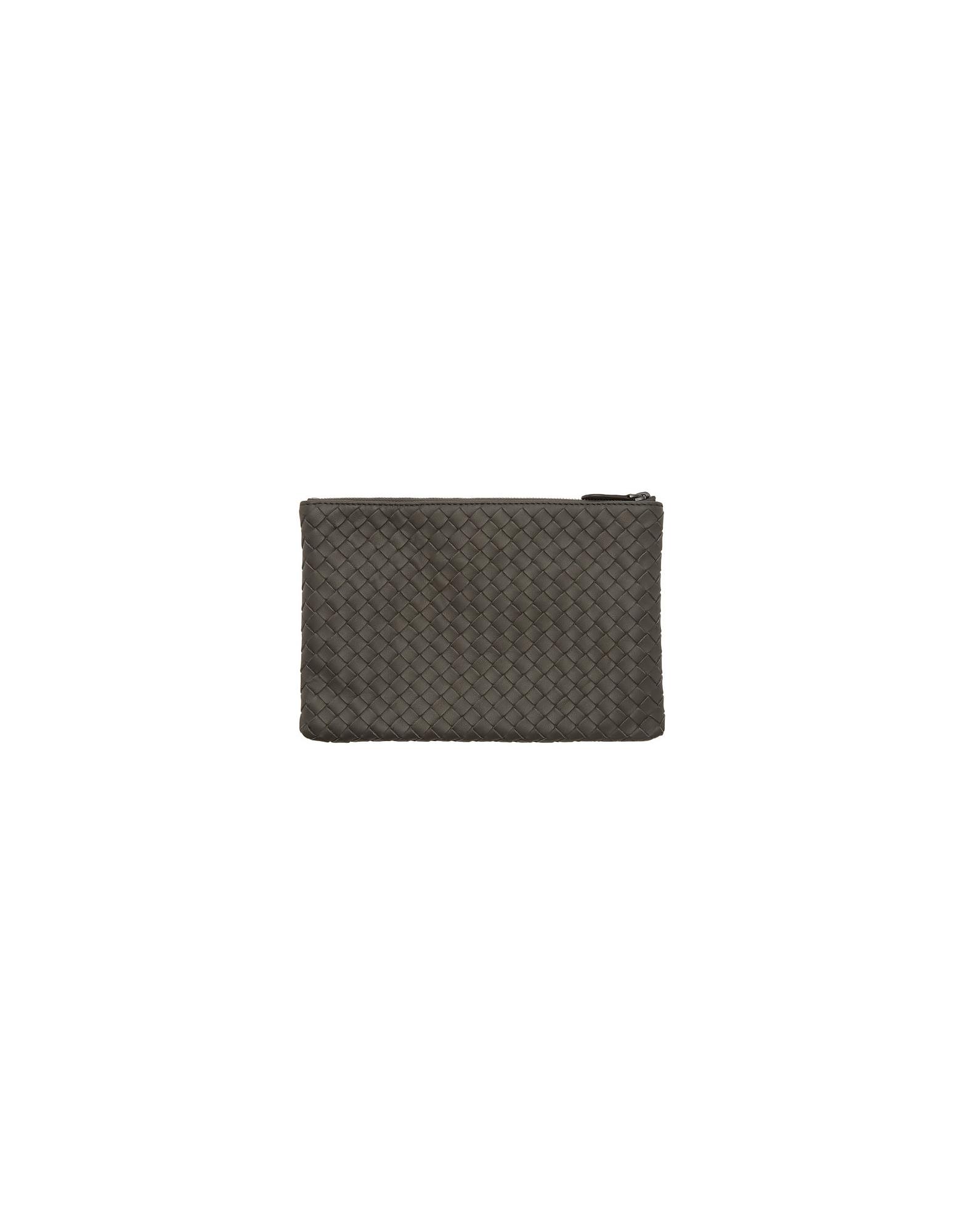 Bottega Veneta Designer Handbags, Grey Small Intrecciato Pouch