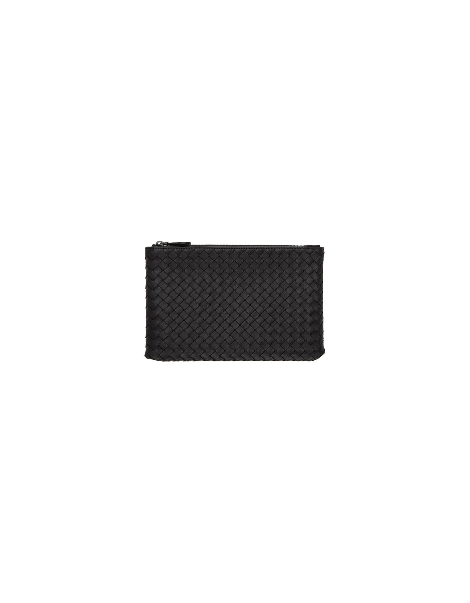 Bottega Veneta Designer Handbags, Black Intrecciato Medium Pouch