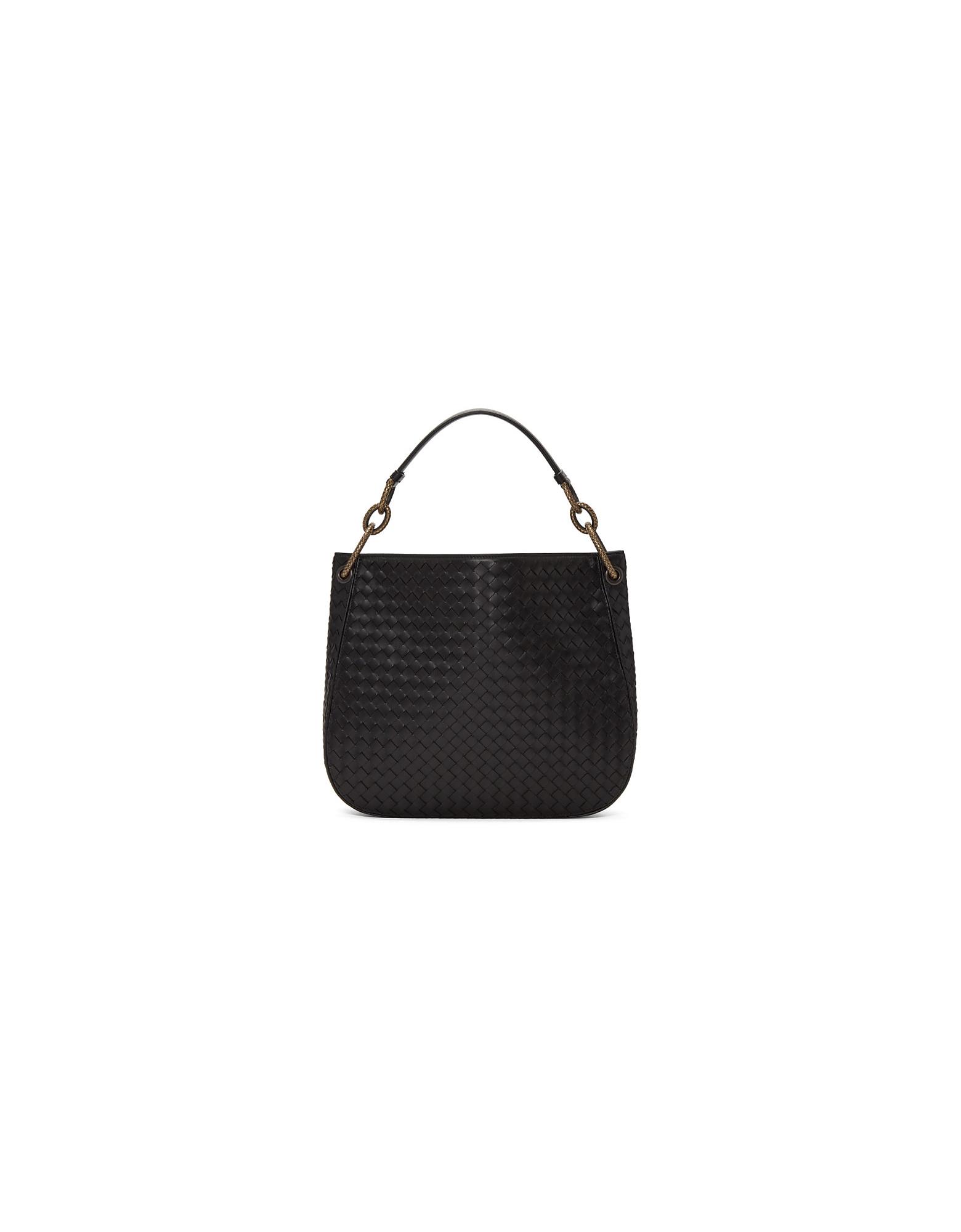 Bottega Veneta Designer Handbags, Black Intrecciato Loop Bag