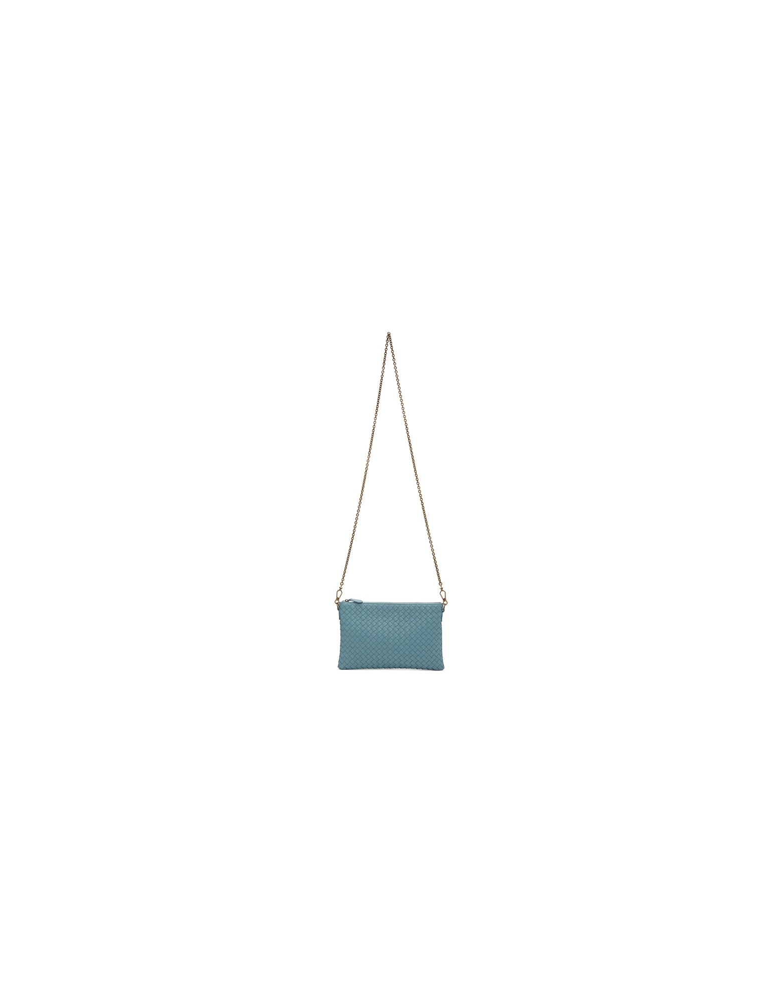 Bottega Veneta Designer Handbags, Blue Intrecciato Billeto Chain Bag