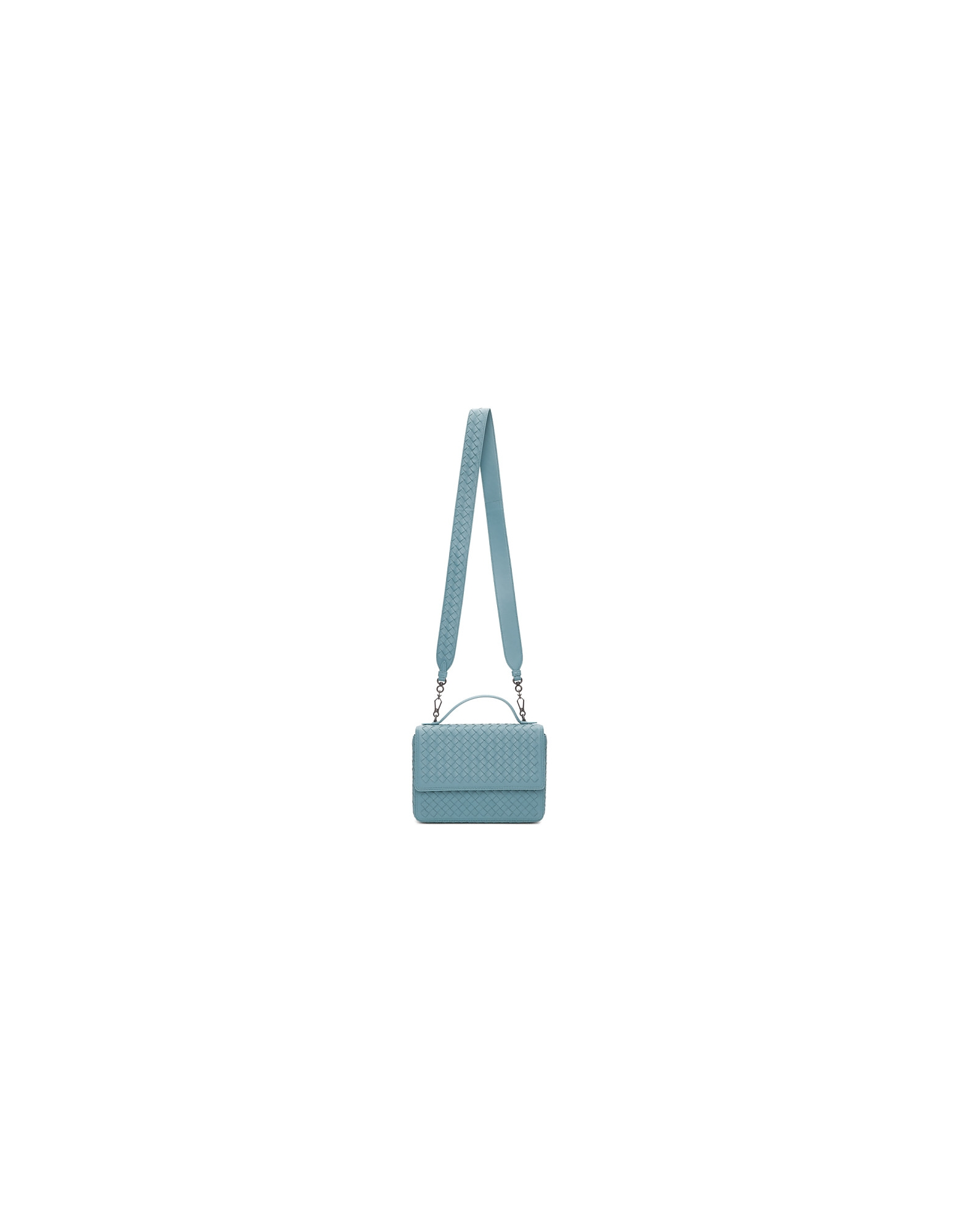 Bottega Veneta Designer Handbags, Blue Intrecciato Alumna Bag