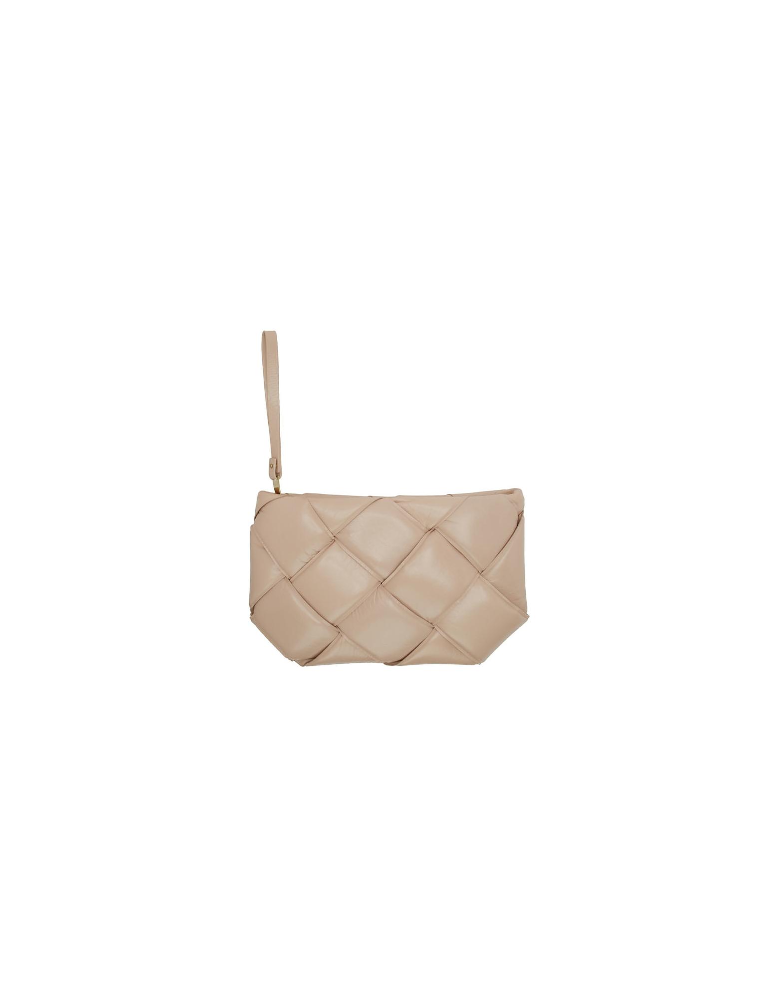 Bottega Veneta Designer Handbags, Beige Maxi Weave Quilted Pouch