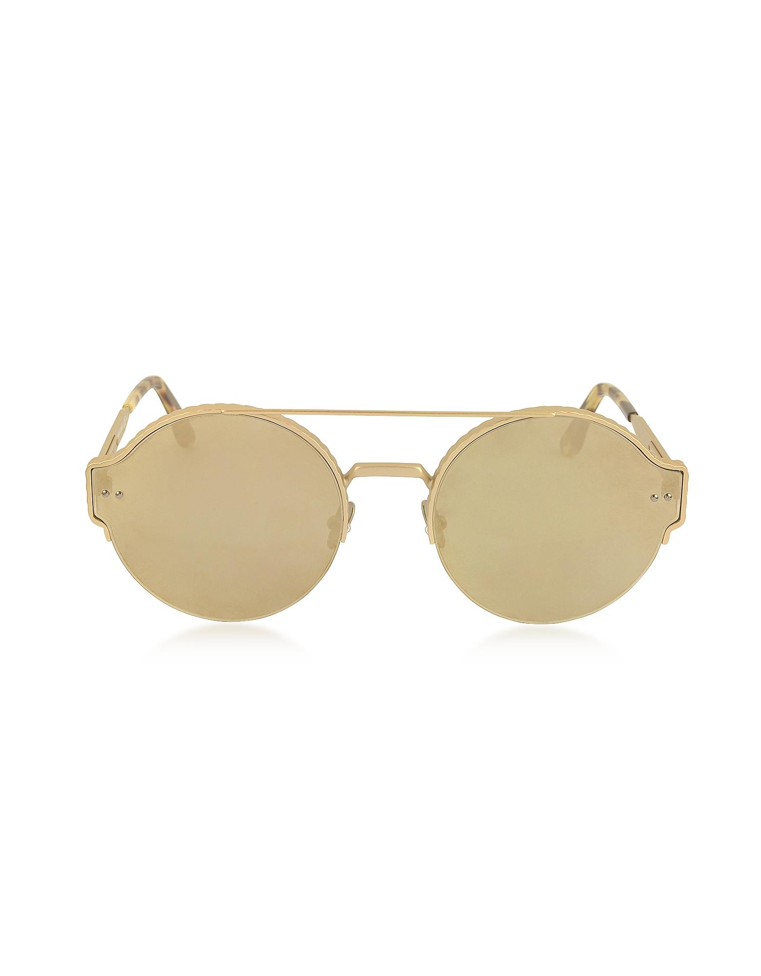 Bottega Veneta Sunglasses, BV0013S Round Metal Frame Unisex Sunglasses