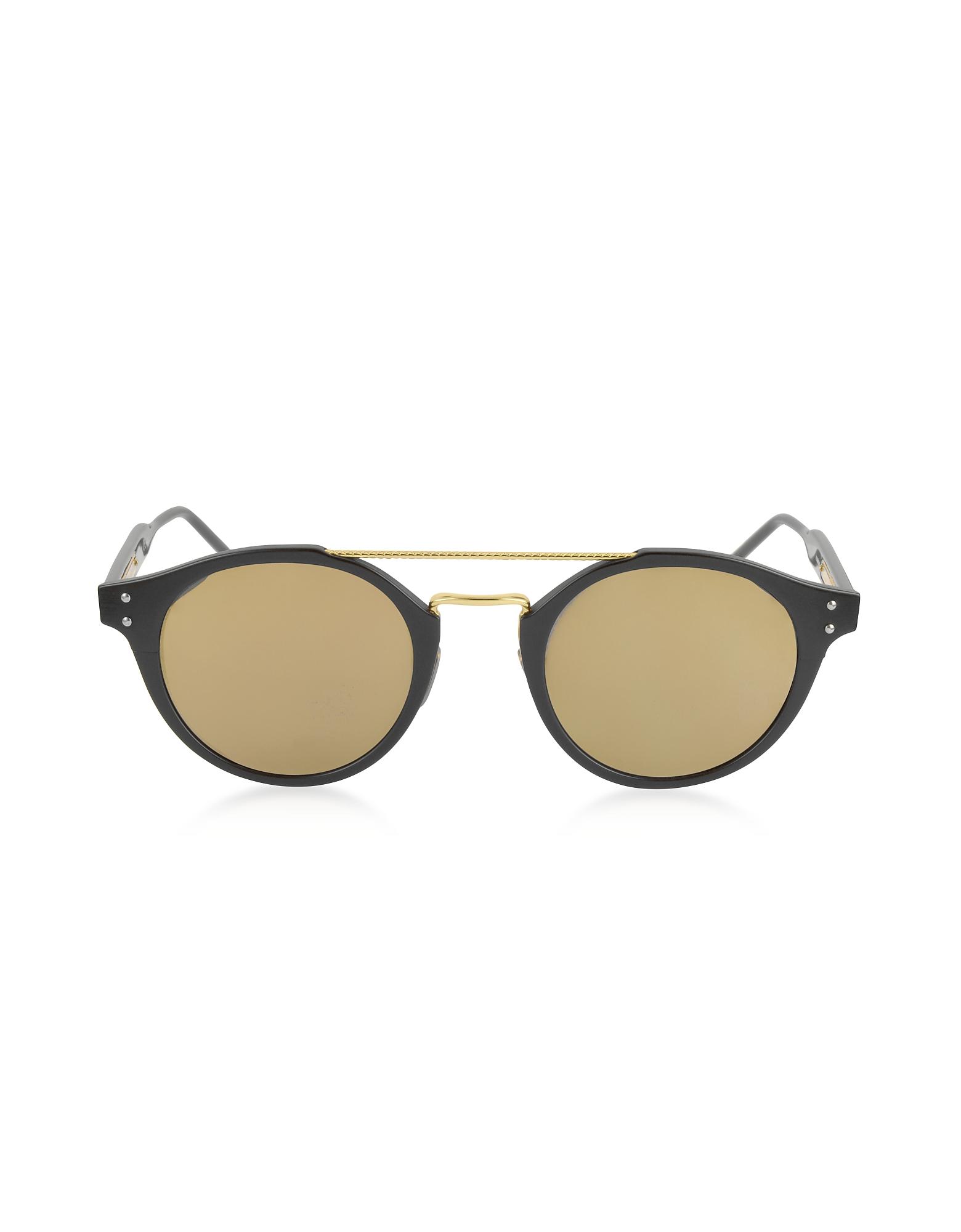 Bottega Veneta Sunglasses, BV0078S Round Acetate and Metal Frame Unisex Sunglasses