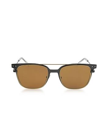 Bottega Veneta - BV0095S 002 Black Metal Frame Men's Sunglasses