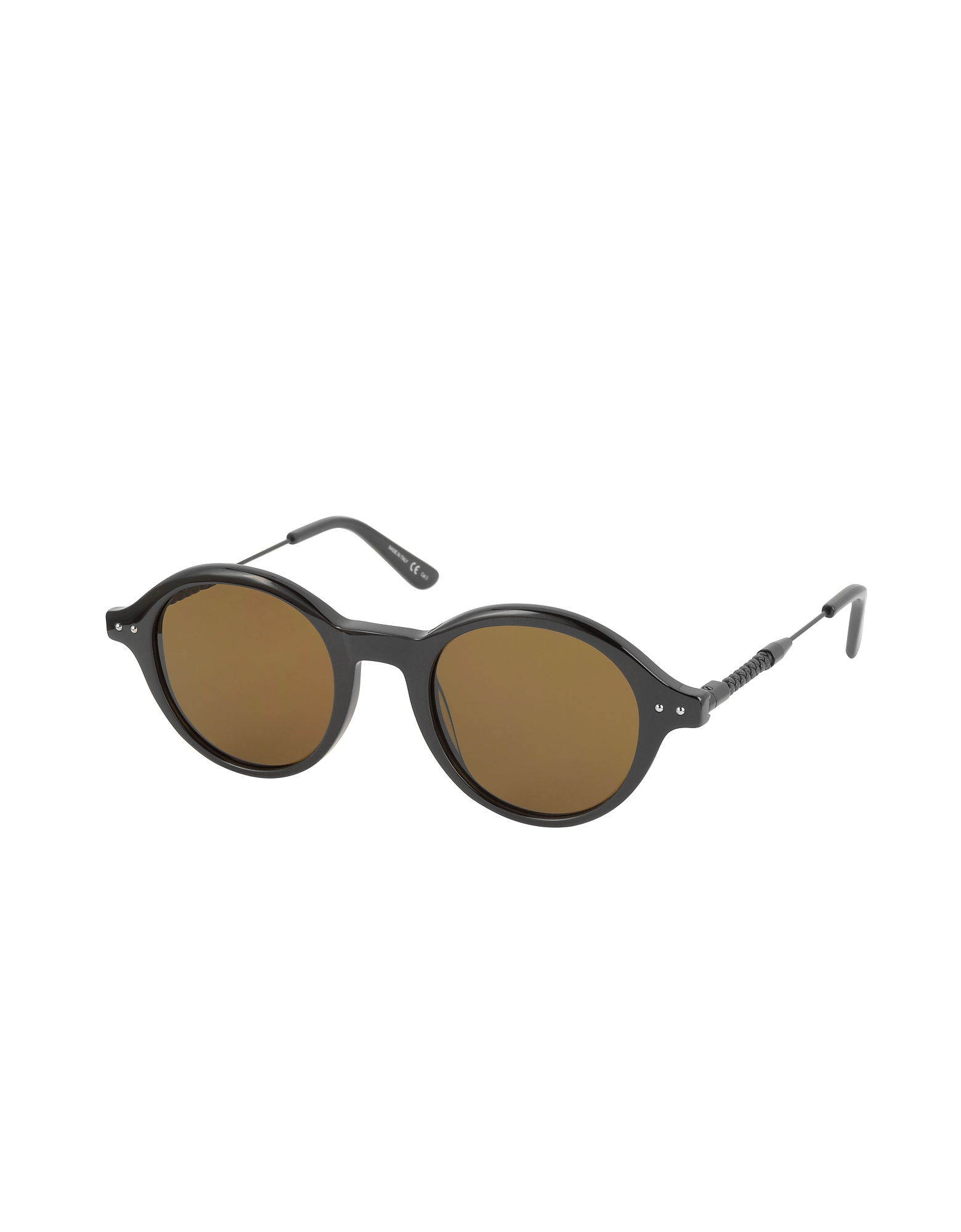 BV0095S 002 BV0107S Black Acetate Round Frame Men's Sunglasses от Forzieri.com INT