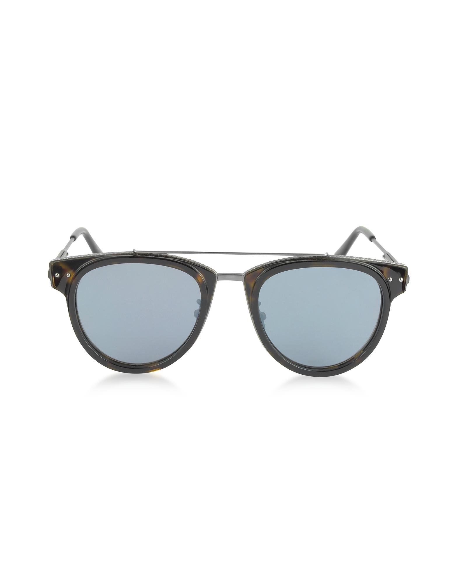 Bottega Veneta Sunglasses, BV0123S Round Metal and Acetate Unisex Sunglasses