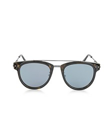 BV0123S Round Metal and Acetate Unisex Sunglasses - Bottega Veneta