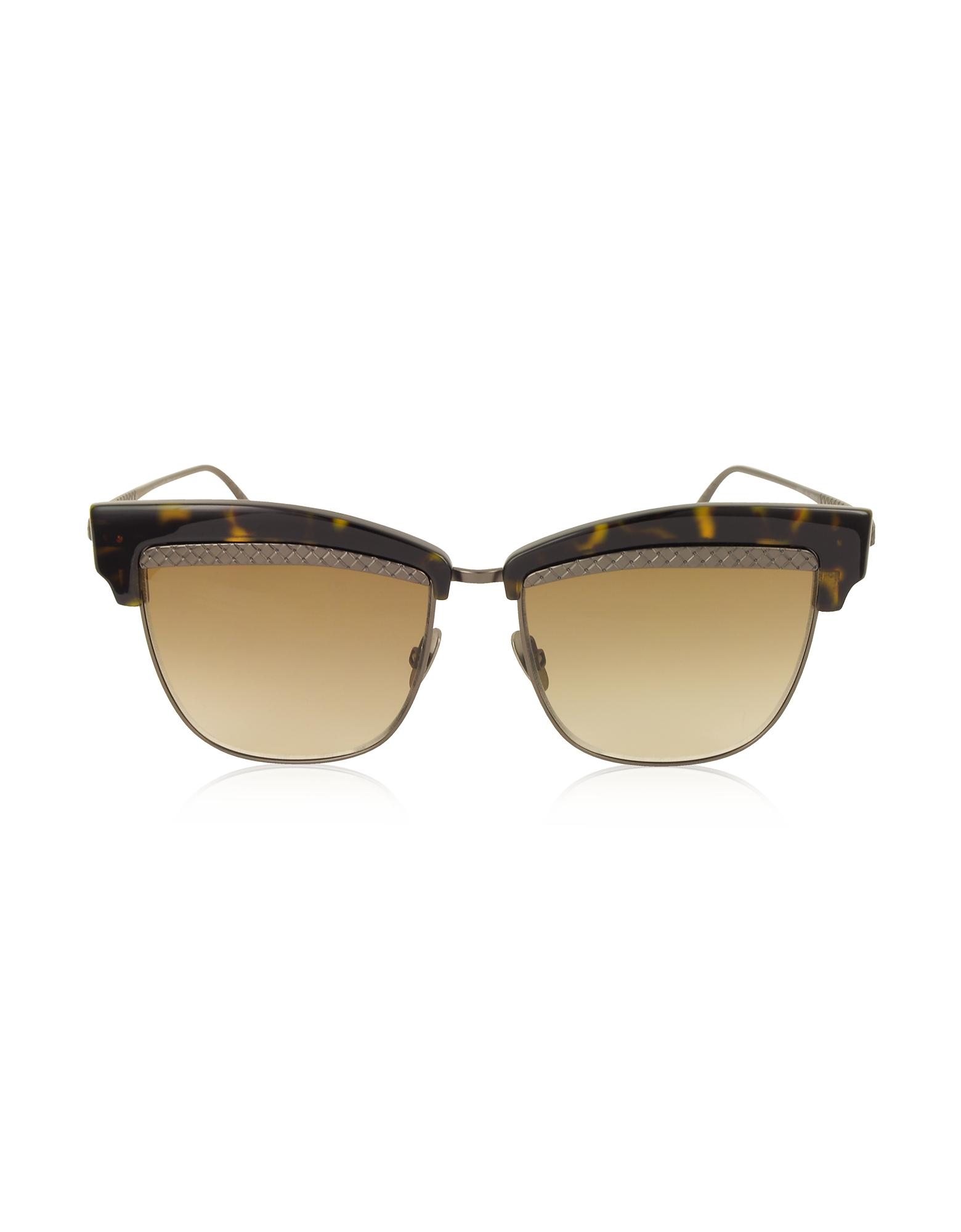 BV0075S 003 Havana Brown Metal and Acetate Women's Sunglasses