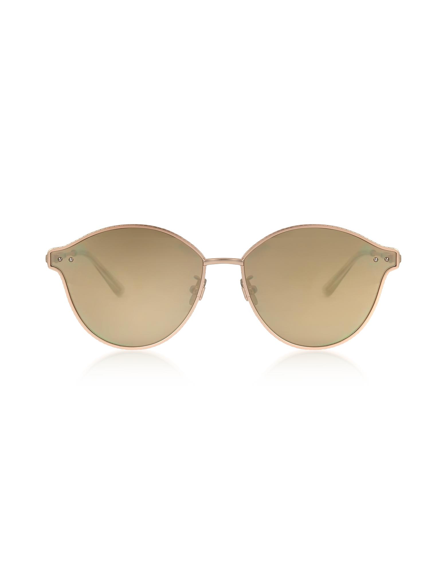 Bottega Veneta Sunglasses, BV0139S 004 Golden Metal Unisex Sunglasses