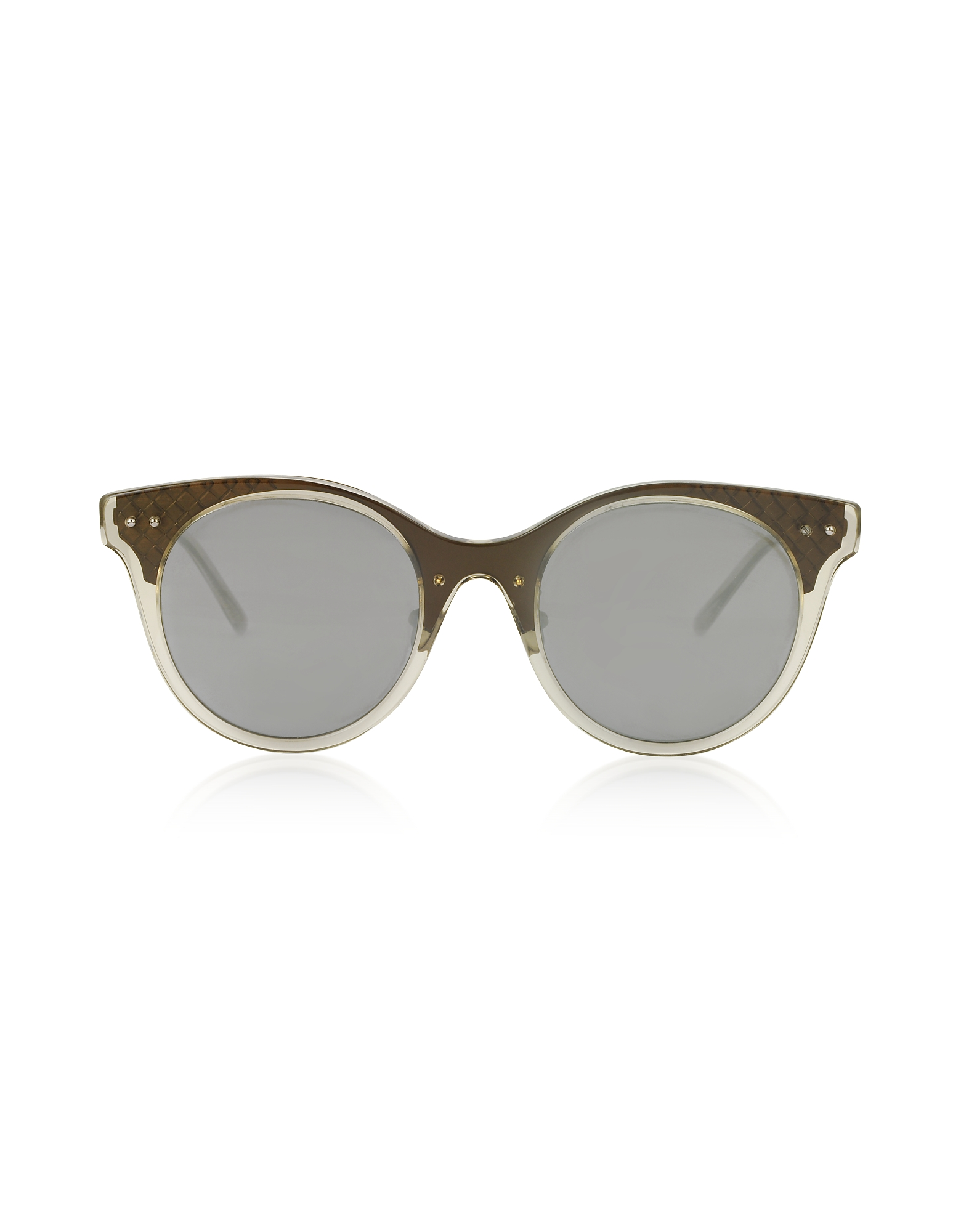 Bottega Veneta Sunglasses, BV0143S 003 Transparent Acetate and Bronze Metal Women's Sunglasses