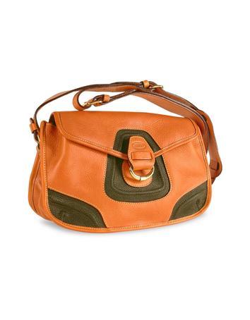 Foto der Handtasche Brics Schultertasche aus Leder und Wildleder in braun & olivegruen